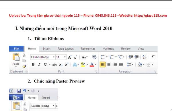 Giáo trình Ms Word 2010 chọn lọc